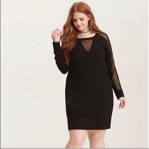 Torrid Black Mesh Insert Detail Long Sleeve Dress